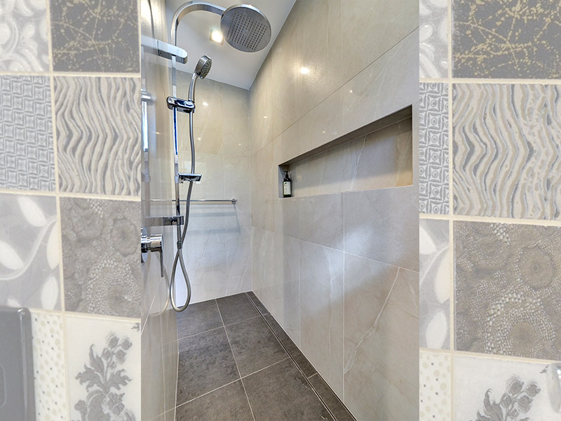 Wet room shower with no glass panels