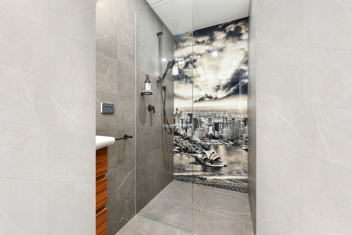 Large pattern bathroom tiles