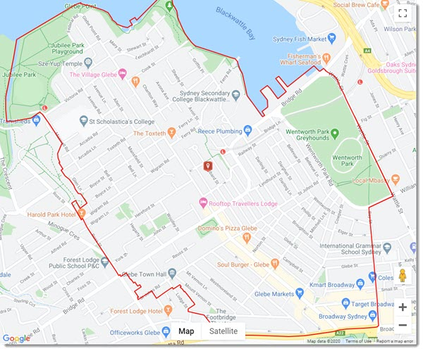 Map of Glebe Sydney NSW