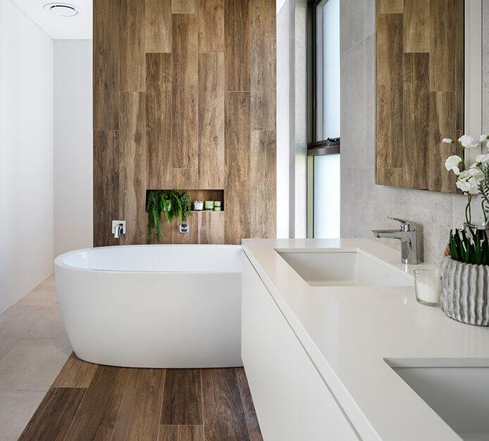 Wood-imitation bathroom tiles